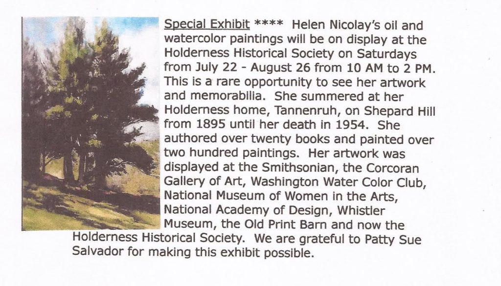 Helen Nicolay's Oil and Watercolor Paintings Special Exhibit